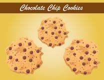 De vector van chocoladeschilferkoekjes, koekjesvector, bakkerij Stock Afbeeldingen