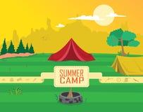 De Vector van Clipart van het de zomerkamp Stock Afbeeldingen