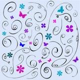 De vector van de bloem en van de vlinder Stock Foto