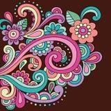 De Vector van de Bloemen en van de Wervelingen van de Krabbel van de Henna van de krabbel Stock Afbeeldingen