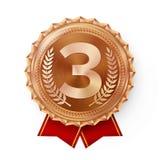 De Vector van de bronsmedaille Beste Eerste Plaatsing Winnaar, Kampioen, Aantal  3de Plaatsvoltooiing Metaalwinnaartoekenning Stock Afbeelding