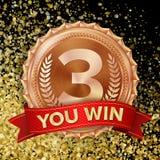 De Vector van de bronsmedaille 3de Plaatsvoltooiing Winnaar, Kampioen, Aantal  Olive Branch Realistische illustratie Stock Afbeelding