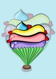 De vector van de Cupcakekrabbel Stock Afbeeldingen