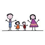De vector van de de kunstkleur van het familiebeeldverhaal Royalty-vrije Stock Afbeeldingen