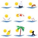 De vector van de de kunstkleur van het strandpictogram Stock Fotografie