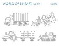 De vector van de de lijnkunst van het bouwvervoer: de nivelleermachine van de graafwerktuigtractor royalty-vrije illustratie