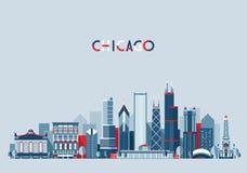 In de Vector van de de Stadshorizon van Chicago Verenigde Staten Stock Afbeeldingen
