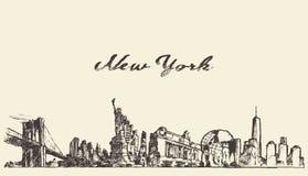 De vector van de de stadshorizon van New York graveerde getrokken schets Royalty-vrije Stock Fotografie