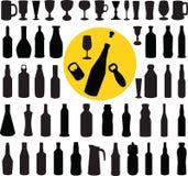 De vector van de fles en van het glazensilhouet royalty-vrije stock fotografie