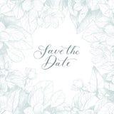 De vector van de handtekening bewaart de datumuitdrukking Uitstekende bloemenachtergrond zwart-wit Royalty-vrije Stock Afbeeldingen