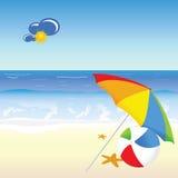 De vector van de het beeldverhaalkunst van de strandschoonheid Royalty-vrije Stock Fotografie