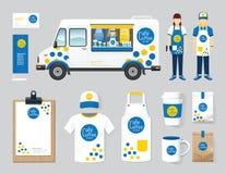 De vector van de het ontwerp vastgestelde straat van de restaurantkoffie winkel van de het voedselvrachtwagen, vlieger, royalty-vrije illustratie