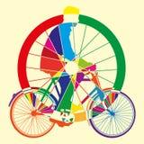 Van de het wielkunst van de fiets de vectorillustratie Stock Foto