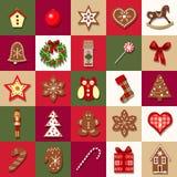 De vector van de komstkalender Kerstmis vastgestelde affiche 2017 Nieuw jaar vooravond Kerstmis Royalty-vrije Stock Fotografie
