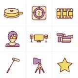 De vector van de pictogrammenstijl, filmpictogram Royalty-vrije Stock Foto's