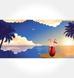 De vector van de Reeks van het strand en van de Cocktail Royalty-vrije Stock Foto