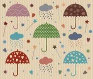De Vector van de regenparaplu met Ster en Hart Royalty-vrije Stock Afbeeldingen