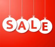 De Vector van de verkoopballen van Kerstmis (besnoeiing het document). vector illustratie