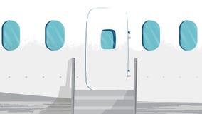 De Vector van de vliegtuigvoorgevel Deuringang en Vensters De sectie voor projecten, malplaatjes, banner, adverteert vector illustratie