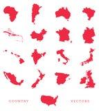 De Vector van de wereldkaart Stock Foto's