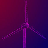 De vector van de windturbine wireframe Stock Afbeeldingen
