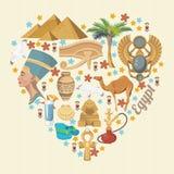 De vector van Egypte met hartvorm Egyptische traditionele pictogrammen in vlak ontwerp Vakantie en de zomer Royalty-vrije Stock Fotografie