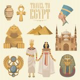 De vector van Egypte met sfinx wordt geplaatst die Egyptische traditionele pictogrammen in vlak ontwerp Vakantie en de zomer Stock Afbeelding