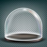 De Vector van de glaskoepel Het Element van het tentoonstellingsontwerp Gebieddeksel Realistische 3D Geïsoleerd op Transparante I Stock Foto's