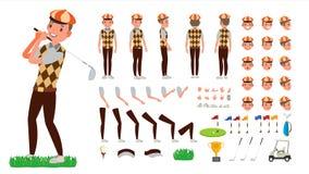 De Vector van de golfspeler de geanimeerde reeks van de karakterverwezenlijking Voetbalhulpmiddelen en Materiaal Volledige Lengte vector illustratie