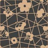 De vector van het van het achtergrond damast naadloze retro patroon bloesem van de de lijnbloem meetkunde dwarskader Het elegante stock illustratie