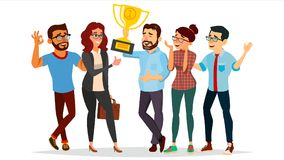 De Vector van het bedrijfsmensenbereiken De Vector van het voltooiingsconcept Zakenmanleider Holding Winner Cup ondernemerschap stock illustratie