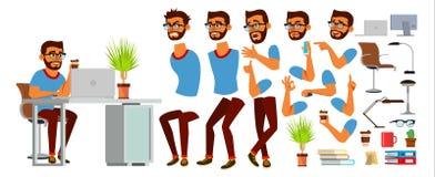 De Vector van het bedrijfsmensenkarakter Werkend Hindoes Mannetje Opstarten van bedrijven Modern bureau Codage, Software-ontwikke royalty-vrije illustratie