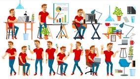 De Vector van het bedrijfsmensenkarakter Werkende geplaatste mensen Bureau, Creatieve Studio gebaard Arbeider Volledige lengte pr vector illustratie