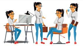 De vector van het bedrijfsvrouwenkarakter Werkende Aziatische vrouw Team Room aziatisch Milieuproces in Startbureau web royalty-vrije illustratie