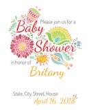 De vector van het de bloemthema van de uitnodigings babyshower kaart Royalty-vrije Stock Afbeelding