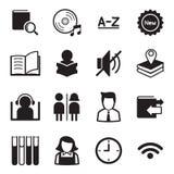 De Vector van het de Illustratiesymbool van bibliotheekpictogrammen Stock Foto's