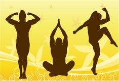 De vector van het de vrouwensilhouet van de bodybuilder Royalty-vrije Stock Foto