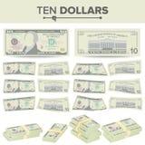 De Vector van het 10 Dollarsbankbiljet De Munt van de beeldverhaalv.s. Twee Kanten van Tien Amerikaans Geld Bill Isolated Illustr vector illustratie