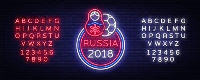 De vector van het het embleemneon van het voetbalkampioenschap Het teken van het voetbalneon, Europese Voetbalkop 2018, Lichte Ba Stock Illustratie