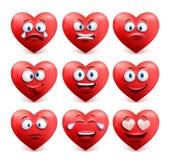 De vector van het hartgezicht in rode kleur met grappige gelaatsuitdrukkingen wordt geplaatst die royalty-vrije illustratie