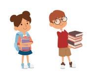 De vector van het het basisonderwijskarakter van het schooljonge geitje Stock Afbeeldingen