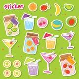 De Vector van het het beeldverhaalontwerp van Juice Drink Cocktail Fresh Cute van het stickerfruit Stock Afbeelding