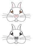 De vector van het het konijngezicht van het beeldverhaal Royalty-vrije Stock Foto's