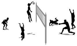 Het silhouet van het volleyballspel  royalty-vrije stock foto's