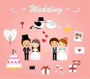 De vector van het huwelijksmalplaatje Stock Afbeeldingen