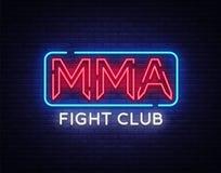 De vector van het het neonteken van de strijdclub MMA-het embleem van het neonsymbool, ontwerpelement op nacht vecht, lichte bann royalty-vrije illustratie