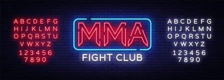 De vector van het het neonteken van de strijdclub MMA-het embleem van het neonsymbool, ontwerpelement op nacht vecht, lichte bann vector illustratie