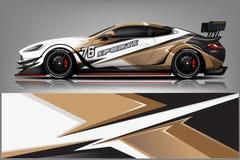 De vector van het de omslagontwerp van het autooverdrukplaatje Grafische abstracte streep het rennen achtergronduitrustingsontwer royalty-vrije illustratie