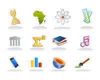 De vector van het onderwerpspictogrammen van de school Royalty-vrije Stock Afbeeldingen