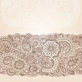 De Vector van het Ontwerp van de Grens van Mehndi Paisley van de henna Stock Foto's